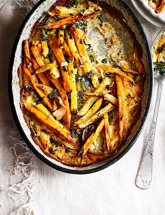 Sweet Potato Gratin Recipe With Swede and Kale