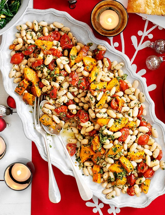 Cannellini bean and roast squash salad with basil dressing