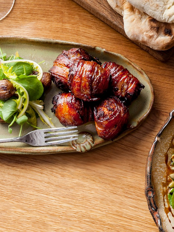 Bacon-wrapped dates with quince marmalade