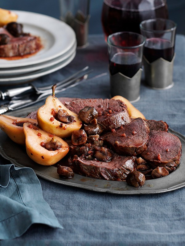 Beef Fillet Recipe With Spiced Pears and Chestnut Pickle Recipe
