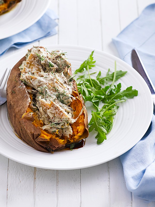 Baked Sweet Potato Recipe with Smoked Mackerel Filling