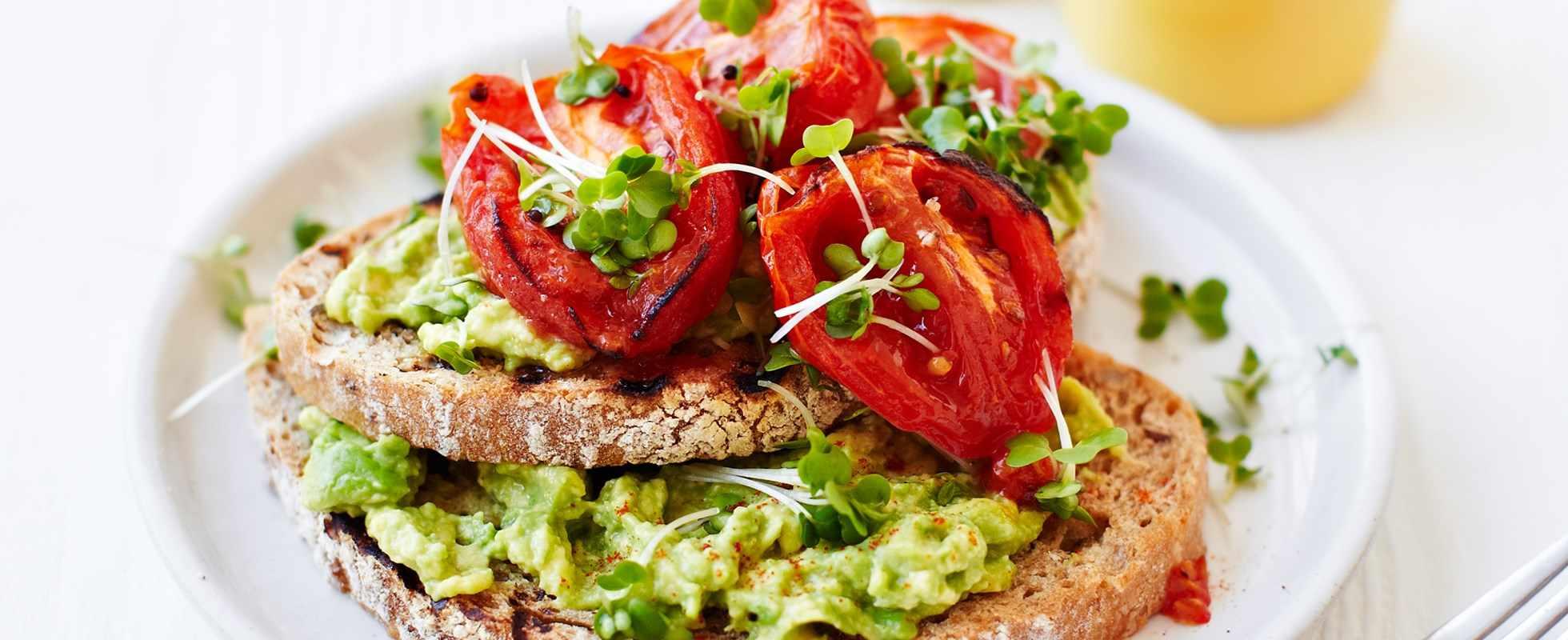 roasted tomatoes avocado toast