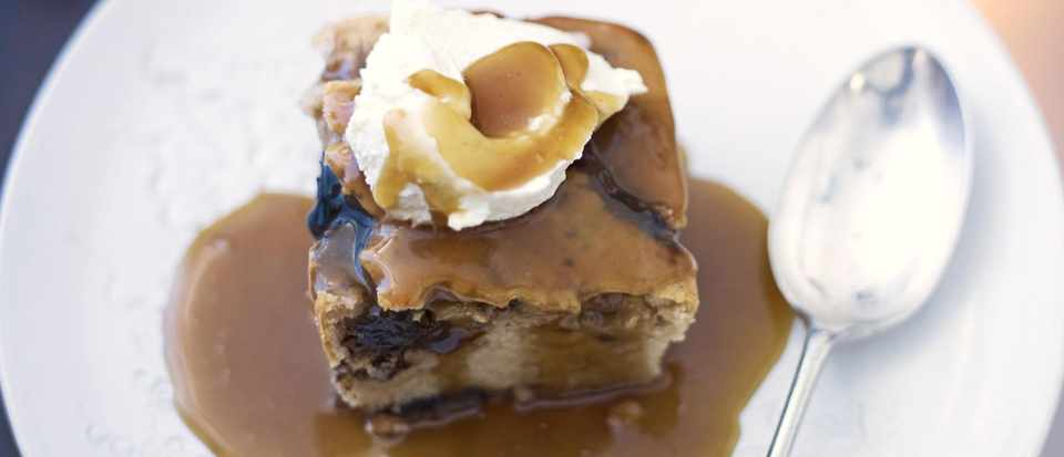 Butterscotch pudding and whisky sauce