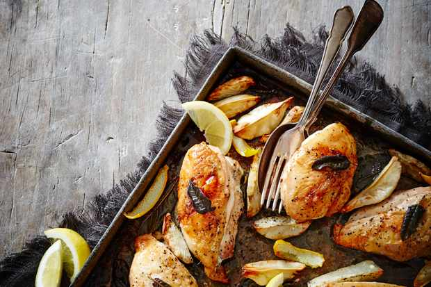 Roast Chicken Recipe with Artichokes and Sage Butter