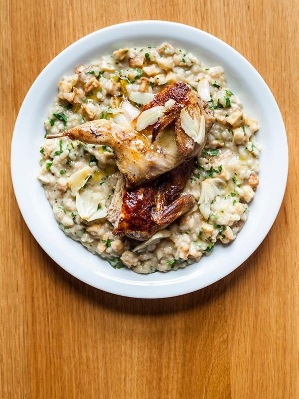 Garlic Risotto Recipe with Quail and Celeriac
