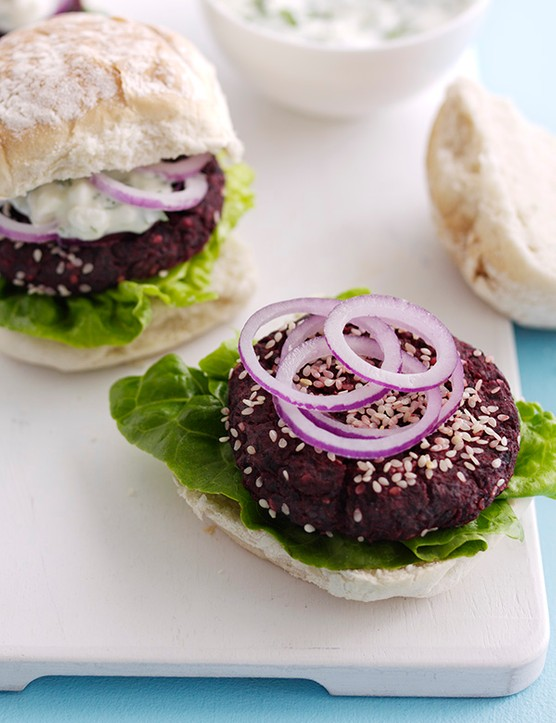 Veggie Burger Recipe For Beetroot Burgers With Feta Sauce