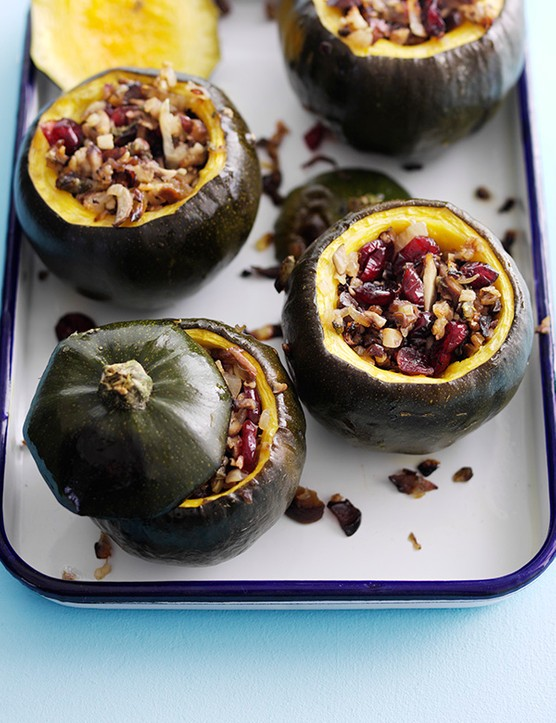 Stuffed Gem Squash Recipe with Cranberry and Chestnut Stuffing