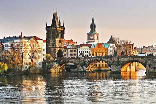 Prague river and bridge view
