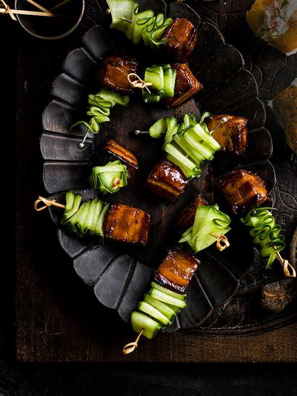 Pork-Belly Skewers Recipe With Caramel Sauce