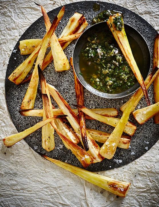 Parsnip Fries Recipe with Easy Salsa Verde