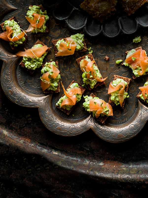 Smoked Salmon Tartine Recipe With Pea and Mint