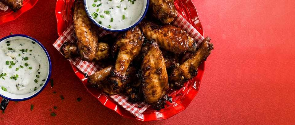 Dan Doherty's sticky wings with blue cheese sauce