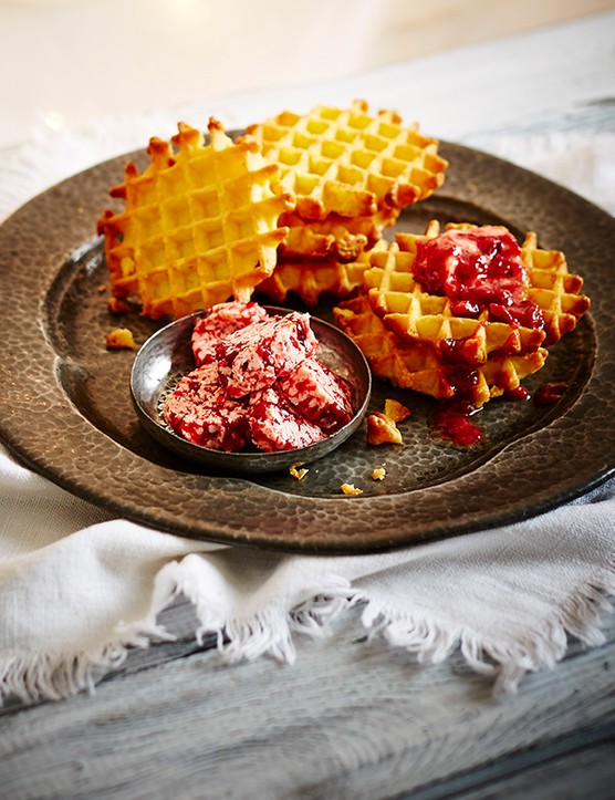 Waffle Recipe with Cranberry Butter