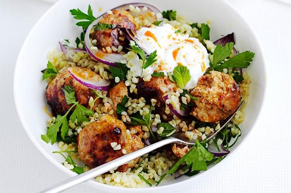 Harissa chicken meatballs with bulgar