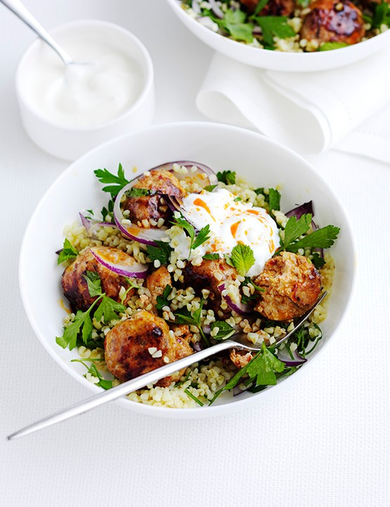 Harissa chicken meatballs with bulgar