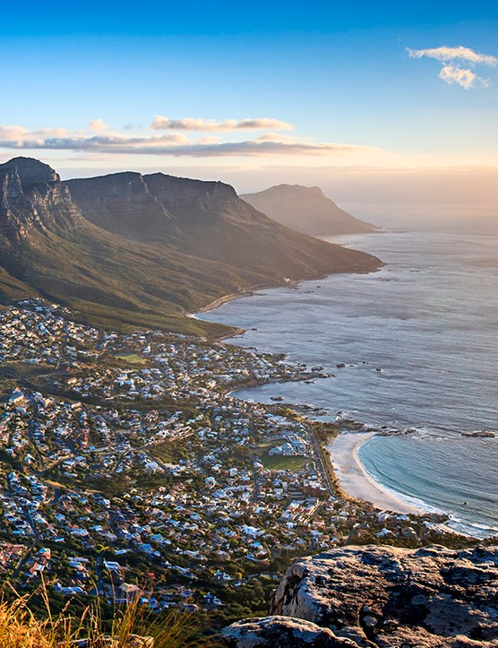 A view of Cape Town's mountains and coast