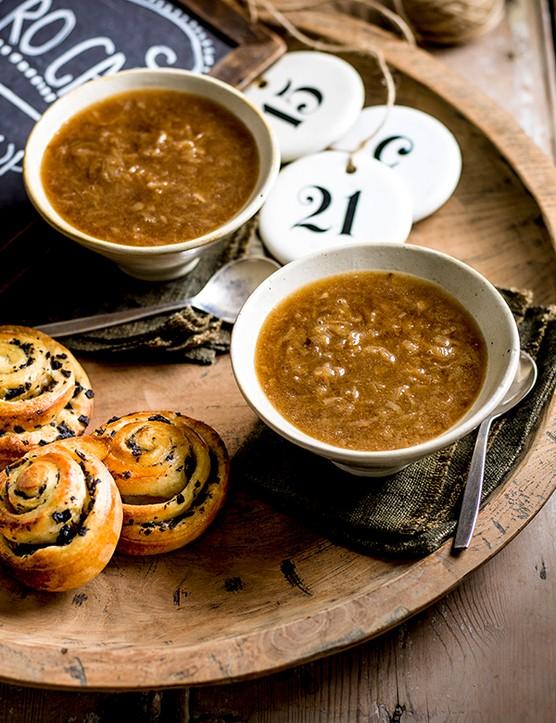 Asian onion soup with soy mushroom brioche