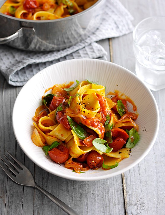 Pappardelle with buttery tomato and shallot sauce