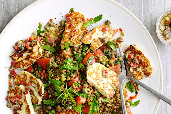 Halloumi with caper and lemon dressing