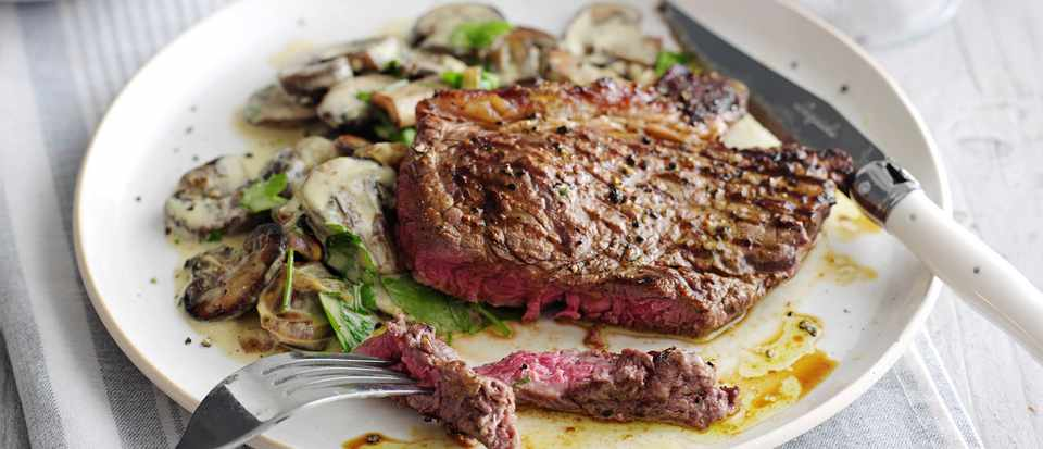 Steak With Garlic Mushroom Cream And Winter Greens Recipe Olivemagazine