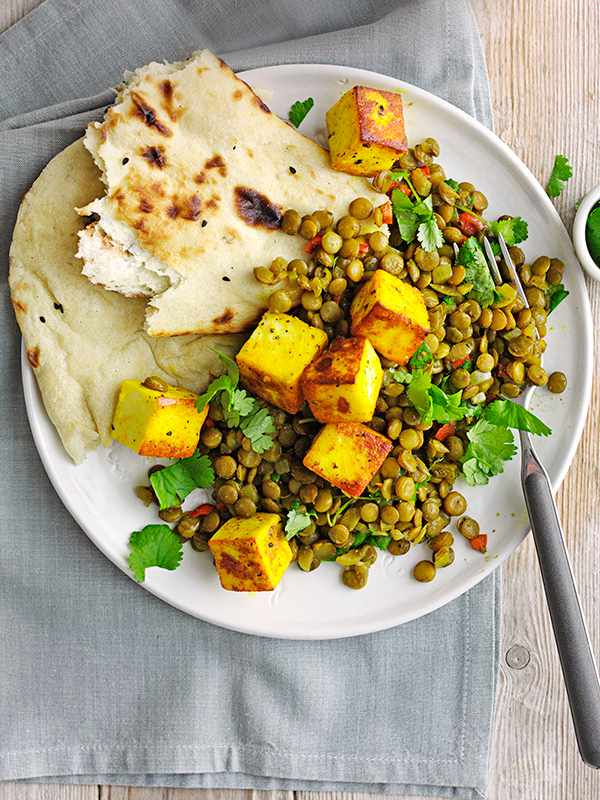 Spiced Paneer Recipe with Chilli Green Lentils