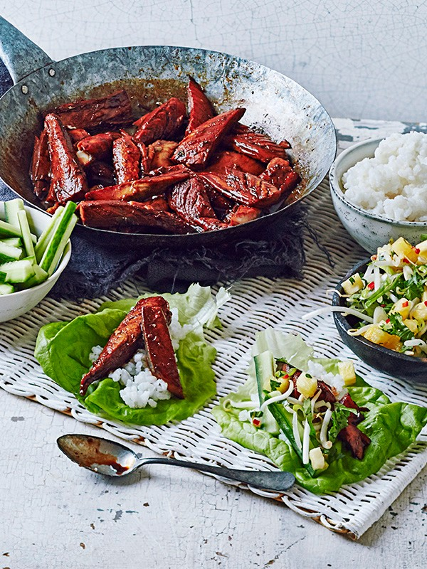 Teriyaki Mackerel Recipe with Rice Lettuce Wraps