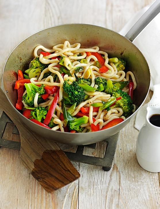 Yaki Vegetable Udon Noodles Recipe served in a deep silver metal pan