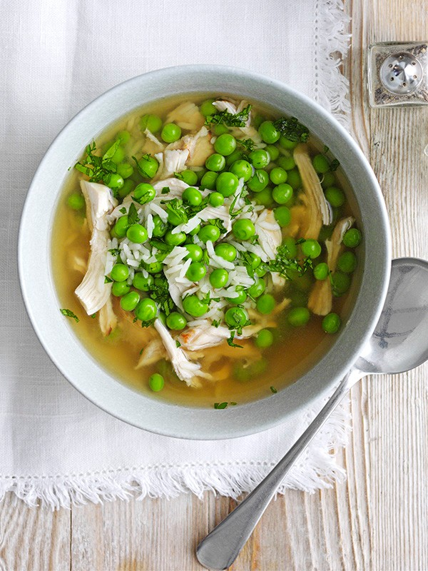 Chicken Broth Recipe with Peas