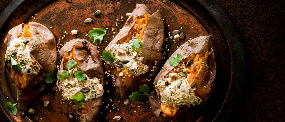 Roasted Sweet Potato Recipe With Harissa Yogurt