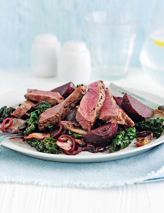Steak Recipe with Chicory and Balsamic Beetroots