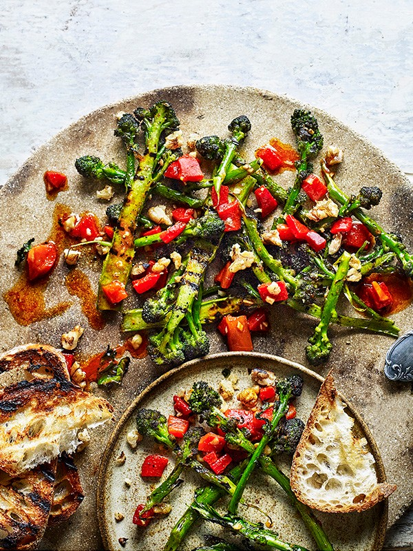 Purple Sprouting Broccoli Recipe with Peppers and Walnuts