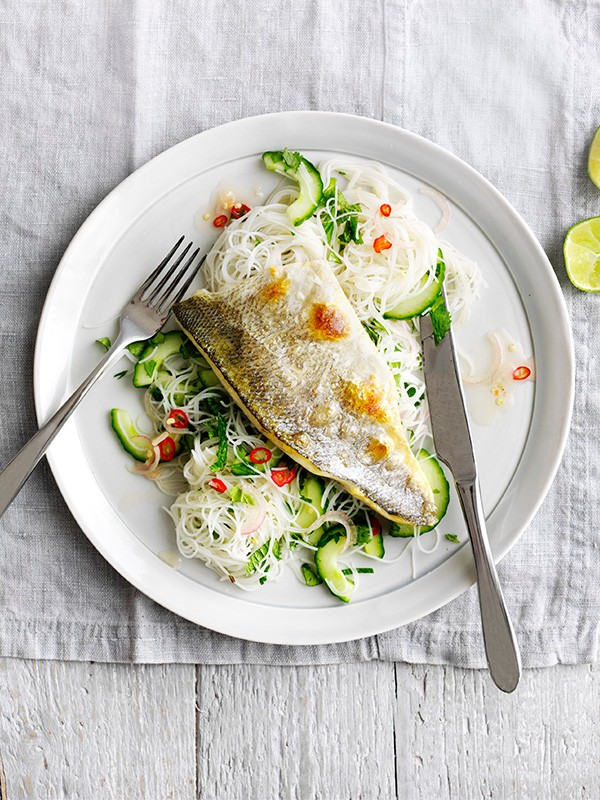 Sea Bass Fillet Recipe with Noodle Salad