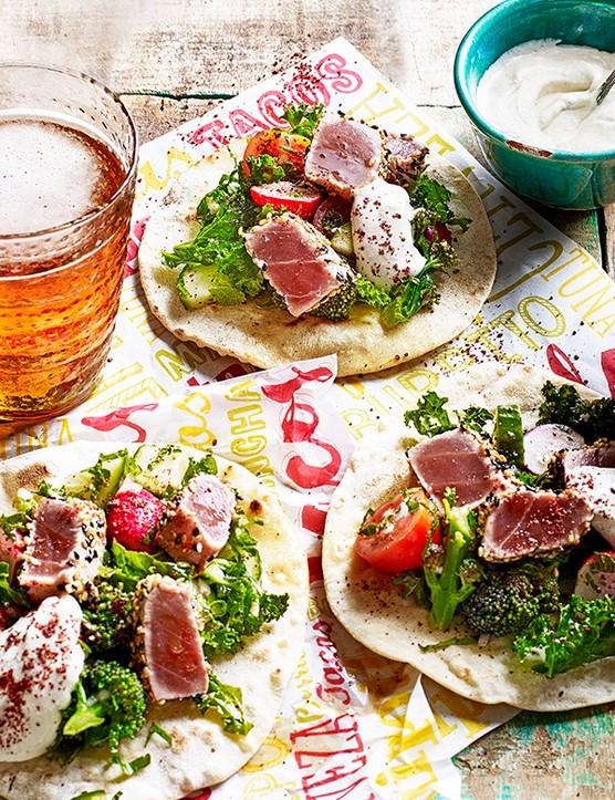Tuna Tacos Recipe with Fattoush and Tahini Yogurt