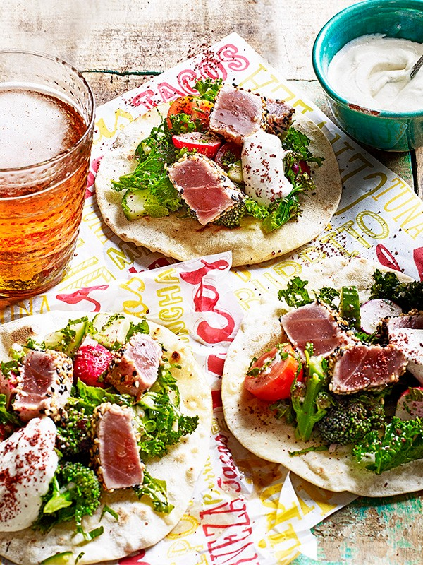 Tuna Tacos Recipe with Fattoush and Tahini Yogurt