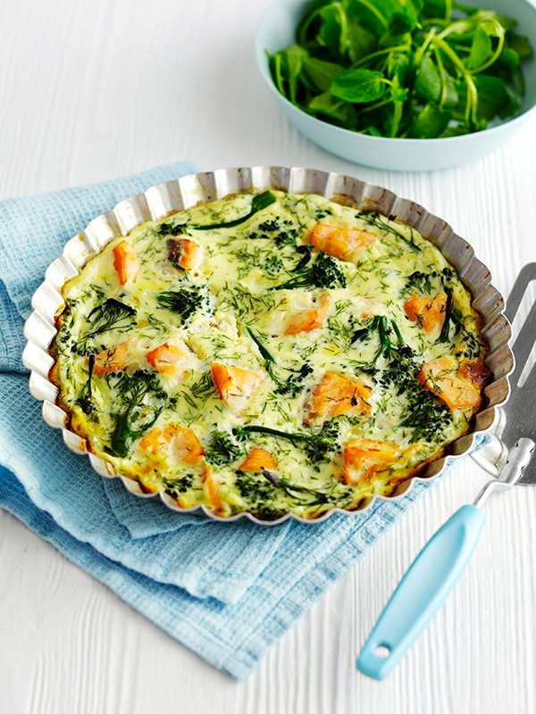 Crustless Quiche Recipe With Salmon and Broccoli