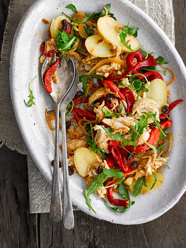 Catalan Chicken Recipe With Potato and Pepper Salad