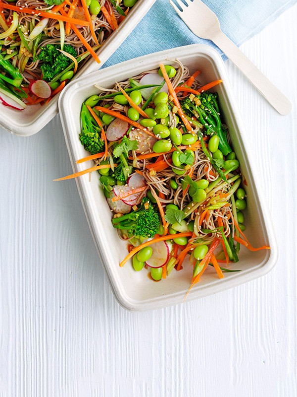 Veggie soba noodle pots