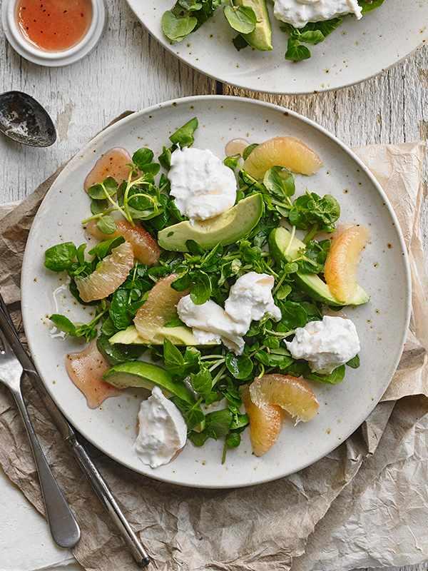 Avocado and Watercress Salad With Pink Grapefruit