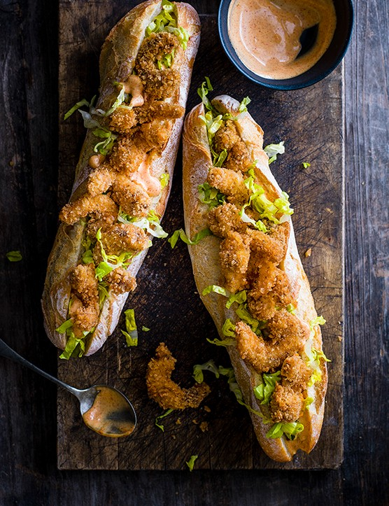 Fried shrimp po' boy sandwich