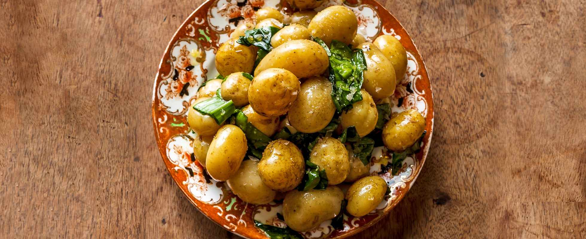 Jersey Royal potatoes with wild garlic