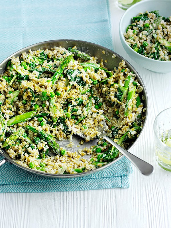 Freekeh risotto with spring greens