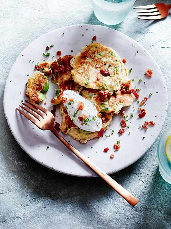Fritters Recipe with Broad Beans, Goat's Cheese and Bacon