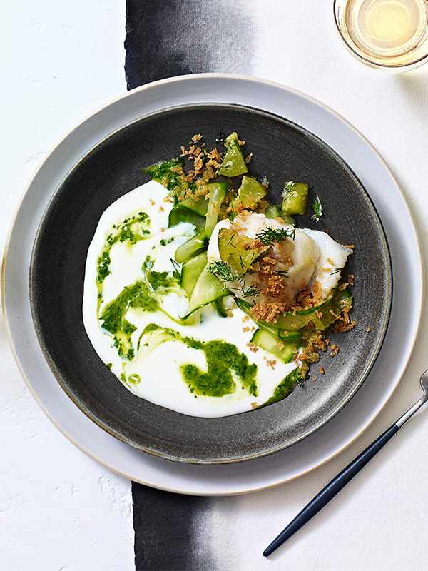 Cod Cheek Recipe With Pickled Cucumber and Kefir