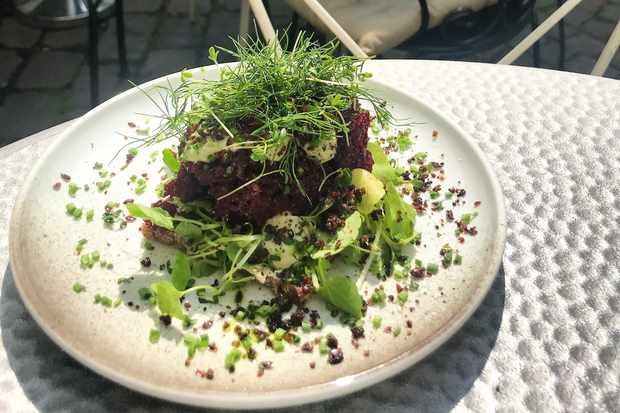 A plate of minced beetroot topped with green micro leaves at Kafé Höga Nord Gothenburg