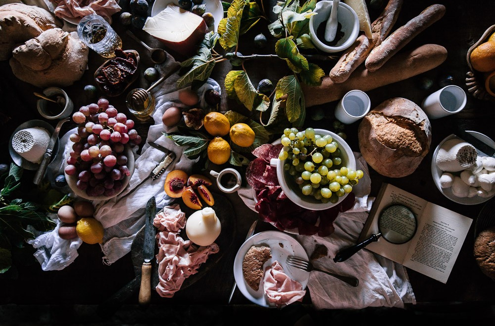A table covered in food in Abruzzo