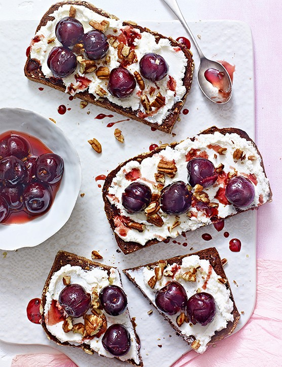 Cherry Toasts With Goat's Curd