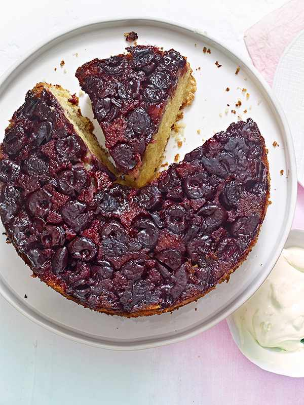 Cherry Cake Recipe with Clotted Cream