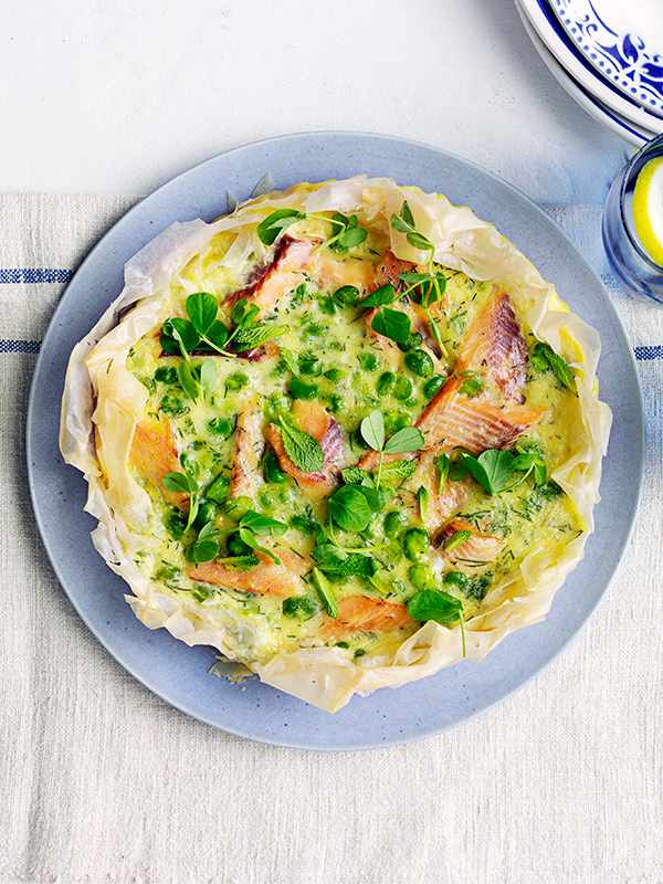 Filo Tart Recipe with Trout and Broad Beans