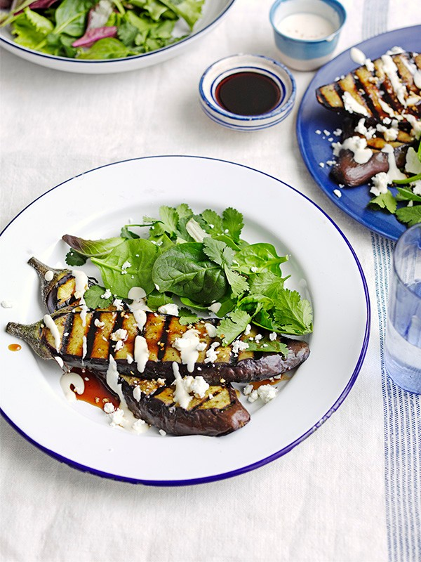Za'atar aubergine steaks with sesame dressing and pomegranate