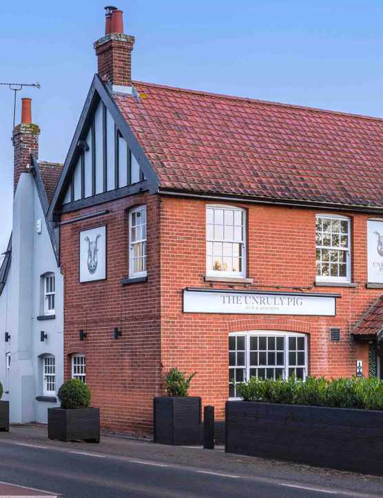 Redbrick exterior of The Unruly Pig Woodbridge Suffolk Restaurant